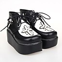 Black PU Leather 6.5CM Platform  Punk Lolita Shoes
