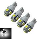 JIAWEN® 4pcs T10 1W 5X5050SMD 70-90LM 6000-6500K Cool White  LED Car Light (DC 12V)