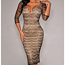 Women's Black Gold Shimmer Nude Illusion Midi Sexy Dress