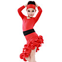 High-quality Milk Fiber with Ruffles Latin Dance Dresses for Children's Performance/Training (More Colors) Kids Dance Costumes
