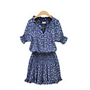 Women's Casual/Print Micro-elastic Short Sleeve Above Knee Dress (Chiffon/Cotton Blends)