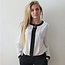 De las mujeres Camisa Escote Redondo - Raso - Manga Larga