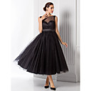 Homecoming Formal Evening Dress - Black A-line/Princess Bateau Tea-length Tulle