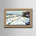 pittura a olio moderna neve dipinti a mano di lino naturale con telaio allungato