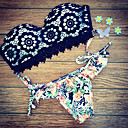 Bikinis Aux femmes Fleur Push-up Bandeau Nylon/Spandex