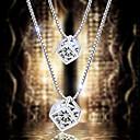 925 argent cristal de style pendentif carré clavicule collier de femmes (16 '', argent)