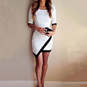 vrouwen ronde hals asymmetrische mini jurk