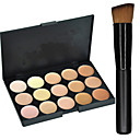 New 15Colors Salon Contour Face Cream Makeup Concealer Palette+1PCS Makeup Foundation Brushes