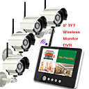 9 inch 2.4G Wireless four Cameras Audio Video Baby Monitors 4CH Quad DVR Security System With IR night light