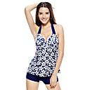 Women Swimwear Flower Print Halter Neck Push-up Bathing Suit Shorts Tankini Set