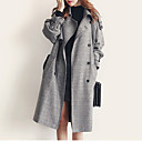Women's Solid Gray Coat , Casual Long Sleeve Cashmere