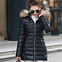Women's Solid Blue/Pink/Red/Black/Green Parka Coat , Casual/Plus Sizes Hooded Long Sleeve Zipper