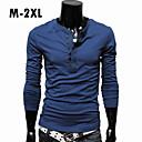 sólida t-shirt de manga comprida masculina