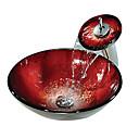 liquidazione rosso rotondo di vetro temperato nave lavello con rubinetto a cascata (0888-c-Bly-6439-wf)