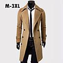 plus size preto / camelo / cinza casual / trabalho puro manga longa casaco longo dos homens (misturas de algodão)