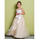 A-line Yer-uzunluğu Dantel / Organza Kolsuz Çiçekçi Kız Elbisesi