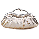 Women Satin Minaudiere Tote / Clutch / Evening Bag - Gold / Silver