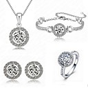 4pcs High Quality Crystal Pendant Jewelry Set Necklace Earring (Assorted Color)