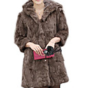 3/4 Sleeve Hooded Rabbit Fur Party/Casual Coat(More Colors)
