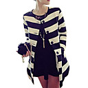 Women's Striped Black/White Coat, Work/Casual Round Neck Long Sleeve Pockets