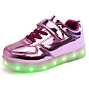 Kid Boy Girl Upgraded Patent Leather LED Light Sport Shoes Flashing Sneakers USB Charge