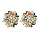 Colorful Enamel Flower Shape Clip Style Stud Earrings