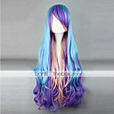 lolita peluca inspirada en el punk de color azul, púrpura y rosado mezclado