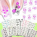 50pcs uñas de transferencia de agua pegatinas del artículo 50 pcs / set de uñas diseño de flores diferentes embalaje etiqueta-desnuda