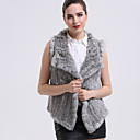 BF-Fur Style Women's Casual/Daily Sophisticated Fur CoatSolid Shirt Collar Sleeveless Winter Brown / Gray Rabbit Fur