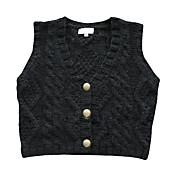 Vネックの金属製のボタンのベストの女性のセーター(1002al0