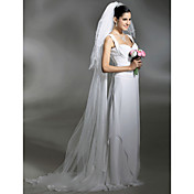 Wedding Veil Three-tier Cathedral Veils Pencil Edge Pearl Trim Edge 102.36 in (260cm) Tulle White IvoryA-line, Ball Gown, Princess,