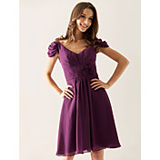Lanting Knee-length Chiffon Bridesmaid Dress - Grape Plus Sizes / Petite A-line / Princess V-neck