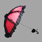 レッドとブラック♥レース♥自動開け♥ウェディング日傘  (0636-4)