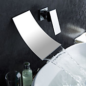 Waterfall Bathroom Sink Faucet  Widespread Contemporary Design Faucet (Chrome Finish)