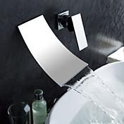 Kylpyhuoneen lavuaarin hana, Moderni, Seinäasennus, Kromi