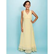 una línea de princesa halter v-cuello piso longitud gasa vestido de la dama de honor junior por lan ting bride®