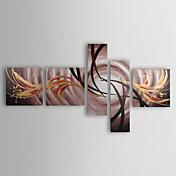 Pintada a mano Abstracto Cinco Paneles Lienzos Pintura al óleo pintada a colgar For Decoración hogareña
