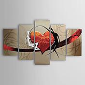 Pintada a mano Abstracto Personas Cualquier Forma,Modern Tradicional Cinco Paneles Pintura al óleo pintada a colgar For Decoración