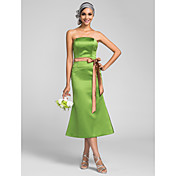 sirena / trompeta sin tirantes de longitud de té satinado vestido de dama de honor con sash by lan ting bride®