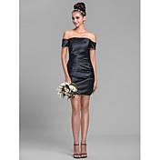 vaina / columna fuera del hombro corto / mini estiramiento vestido de dama de honor de satén con el lado que cubre por lan ting bride®
