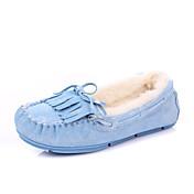 IG.SHOES Komfortable Warm Genuines Velvet-Leder-Schuhe (Blau)