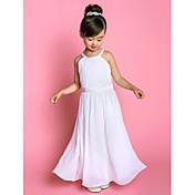 Vestido de uma menina de flor com um comprimento de linha - Vestido de chiffon com decote de cetim sem mangas com tecido drapejado por lan ting bride®