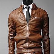 Chaqueta fresca Zipper Short adelgaza Shangdu hombres (Brown)
