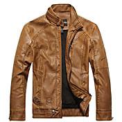男性用 プレイン カジュアル ジャケット,長袖,PUレザー,ブラック / ブラウン