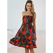 ビーチガールストラップレス花プリントラップビーチのドレス