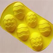 6穴イースターエッグの形のケーキ金型、シリコーン素材、大型、ランダムな色