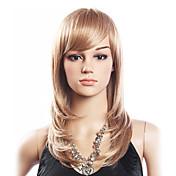 Vysoká kvalita 20% Human Hair & 80% Tepelná odolnost Fiber vlasů Capless Střední Curly paruka (Platinum Blonde)