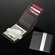 Money Clip de metal personalizadas de los hombres de regalo Negro Cuero de la PU (a menos de 8 caracteres)