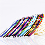 12PCS 12-rayas del color del clavo de la cinta de la raya de la línea de la cinta decoración del clavo etiqueta engomada del arte