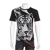 Camiseta De los hombres Estampado-Casual-Algodón-Manga Corta-Negro / Blanco